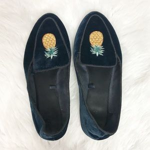 Zara Embroidered Velvet Pineapple Flat Loafers